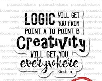 Art Quote 'Logic & Creativity' - Paperbabe Stamps - Red Rubber Cling Mounted Stamp - Typography for Mixed Media and paper crafting