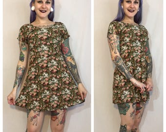 Vintage 1990's Green Floral Mini Dress