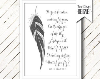 """What if I fall? Oh but my darling, what if you fly -Erin Hanson - PRINTABLE 5x7"""",  8x10"""" Instant Download"""