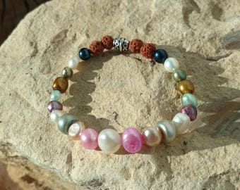Rainbow pearls bracelet