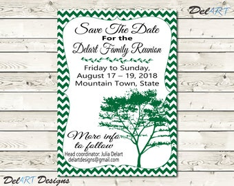 Family Reunion Save The Date, or Invitations, Chevron background invite, Tree, Printable Digital File, JPG or PDF