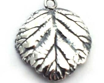 sterling silver leaf charm (1) ,  solid silver leaf 925 silver charm , small silver nature charm , sterling silver 925 leaf pendant.