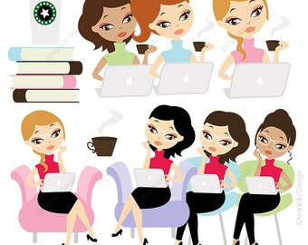 Working Woman Character Clip Art, Working Mom Clipart, Professional Woman Working Computer Graphics Scrapbook INSTANT DOWNLOAD CLIPARTS C50