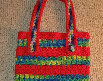 Hand Crocheted Sizzlin' Summer Bag in Hot Red & LSD Green