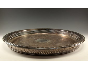 Vintage Silver Plate Serving Tray 15 inch diameter W Rodgers and Sons  Spring Flower