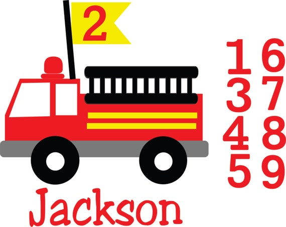 Birthday Fire Truck Files Svg Eps Files