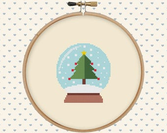 Christmas globe cross stitch pattern - easy cross stitch pattern pdf - xmas counted cross stitch - winter cross stitch - instant download