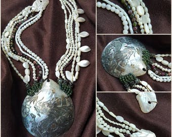 Tourmaline, mother of pearl necklace