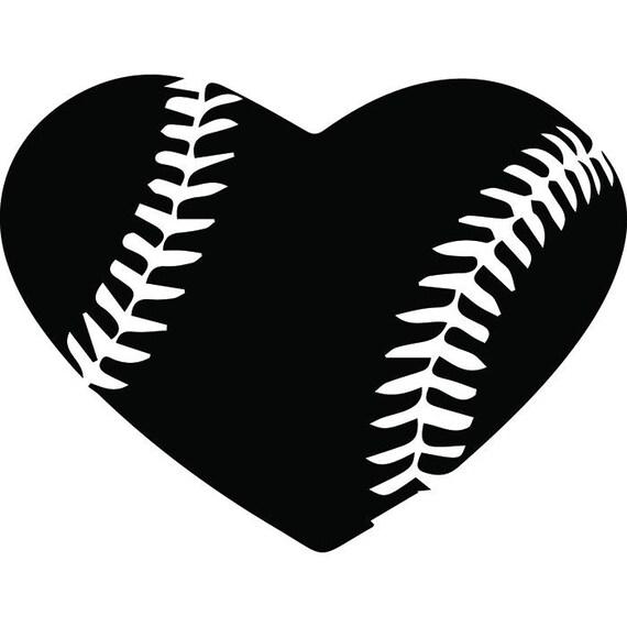 baseball heart 1 ball stitches love sports league equipment rh etsy com Baseball Bat Vector Logo Baseball Bat Clip Art Vector