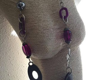 long purple and silver beads