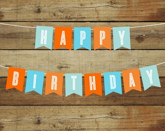 Printable Happy Birthday banner, instant download, boy's birthday party decoration