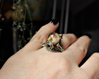Ring Ring of brass Ring with real flowers Ring with rose Eco ring Resin ring