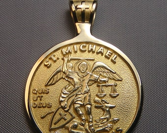 St michael medal etsy st michael medal 14k gold patron saint of police officers archangel mozeypictures Image collections
