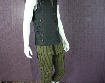 NEW!!!  Black Stretch Denim Mens Dance vest with Side Straps and Snaps, Organic Stretch Denim, Sustainable and Comfortable