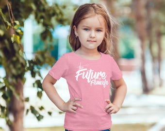 The Future Is Female Kids Shirt Infant Toddler Baby Youth Boys Girls