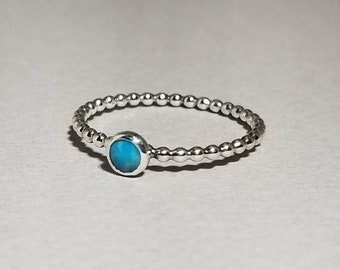 Tiny Turquoise Ring Stacker ~ Size 8 ~ Bright Blue Boho Classic Stackable Turquoise Ring