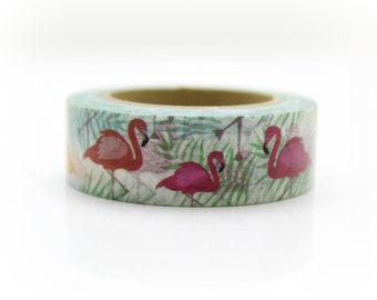 Flamingo Washi Tape - Craft Supplies - Planner Stickers - Erin Condren - Scrapbooking - Bujo Journal - Deco Tape - Love My Tapes