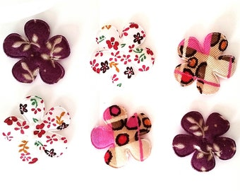 SET OF 6 FLOWER FLORAL LIBERTY LEOPARD DOTS SEWING APPLIQUE
