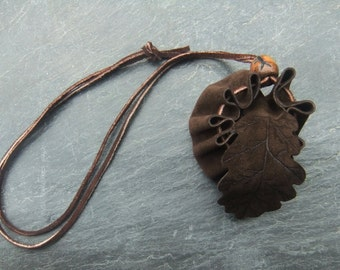 Large Oak Leaf Medicine Pouch Celtic Tree Ogham