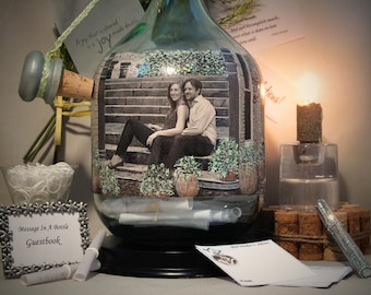Messages In A Bottle Guestbook, Well Wishes Bottle, Personalized Hand Painted Bottle With Your Photo, Unique Wine Them Decor