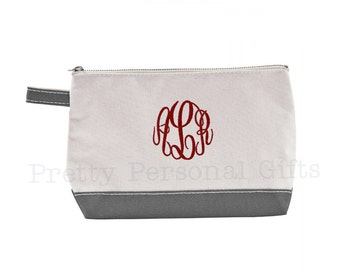 Gray Canvas Make Up Bag with monogram - Free Shipping