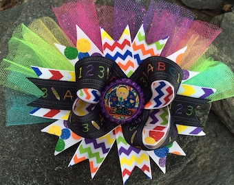 ABCs & 123s Chevron Personalized Name School Boutique Hairbow