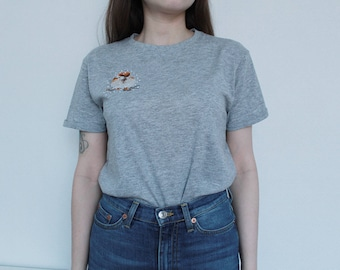 Hand Embroidered Sparrow Cotton T-Shirt bird size xsmall small (ready to ship)