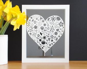 Floral heart framed papercut art – gift for her – Flower art – floating frame papercut art – housewarming present – gift for mum – gran