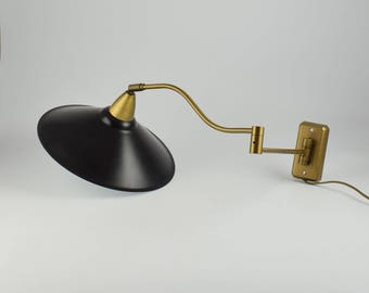Anvia dutch retro swingarm wall lamp black and brass vintage wall light from anvia light designers