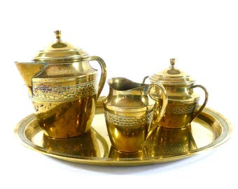 Vintage Brass Tea or Coffee Set with Serving Tray, Vintage Coffee Serving Set
