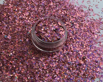 Chunky Holographic Pink (holographic glitter, festival glitter, pink glitter , cosmetic glitter, face glitter, fine glitter, chunky glitter)