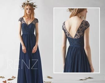 Bridesmaid Dress Navy Blue Chiffon Dress Wedding Dress,Cap Sleeve Maxi Dress,Lace Illusion V Neck Party Dress,Sweetheart Evening Dress(H526)
