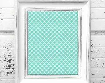 TEAL SCALLOPS - Instant Digital Download Print - Geometric Style Home Decor - HD Wall Art Frameable Print - 5 Different Sizes - up to 20x30
