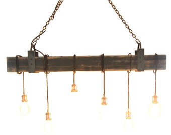 6 light Beam wrap with Iron accents. FREE SHIP  Wood Light Fixture, Beam Light, Edison Light Fixture, Barnwood Lighting