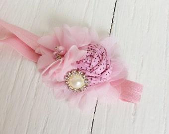 Pink baby headband girl headband toddler headband newborn headband light pink headband dollcake headband well dressed wolf m2m headband