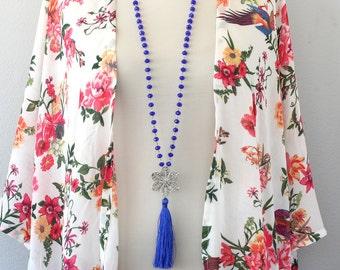 Tassel necklace, long tassel necklace, bohemian necklace, beaded tassel necklace, cobalt blue boho necklace, boho jewelry, mothers day gift