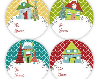 Christmas Gift Tag Stickers - Yellow, Red, Green and Turquoise Quarterfoil, Silly Winter Snow Houses Gift Tags - 20 Round Holiday Labels