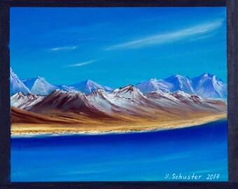 ORIGINAL pastel drawing / landscape painting, sea, nature art, blue landscape, montains