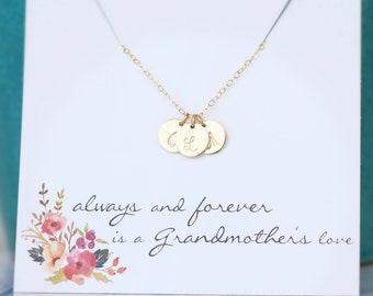 Grandma Necklace, Grandmother's Necklace, Mothers Necklace, Gold Initials, Personalized Gift, Custom Initial Necklace, 14k gold fill Letters