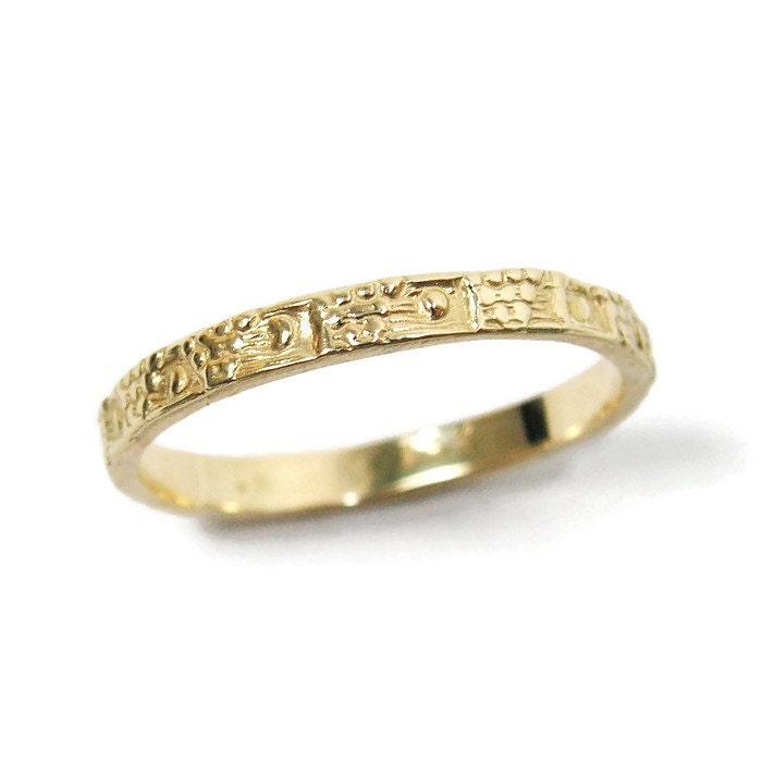 Moroccan Wedding Ring Yellow Gold Tribal Band