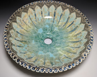 """READY TO SHIP Paisley Flower Style Boader Green Turquoise Tan Gold Crystalline Glazed Porcelain Vessel Sink 15"""" in Diameter"""
