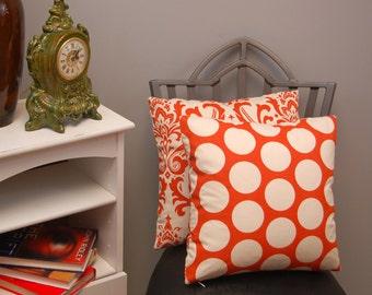 Orange Natural Decorative Throw Pillow Cover 16 X 16 Sweet Potato Pillow Cushion Cover, Damask, Dot 2 sided pillow