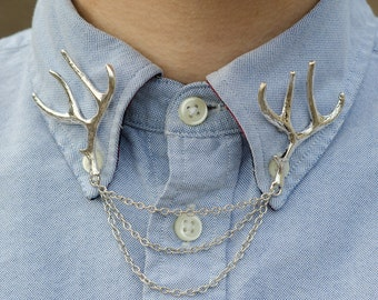 Silver Deer Antler Collar Clip Collar Chain