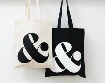 Ampersand - Black Tote Bag - Quality Tote Bag - Monogram Tote - Canvas Shopper - Ampersand Black Tote Bag - Alphabet Bags