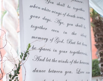 Handwritten calligraphy style wedding ceremony backdrop banner aisle runner for your altar with vows, love poems and love songs