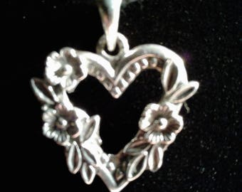 3D Antiqued Sterling Silver Heart with Flowers Charm