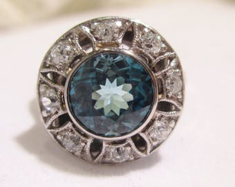 Exceptional Antique 2.70 ct blue zircon & diamond ring with appraisal, .40 GH VS/SI old cut diamonds, hand engraved, filigree saw piercing