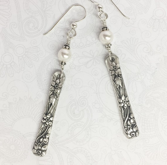 """Spoon Earrings with White Crystal Pearls, Silverware Jewelry """"Narcissus"""" 1935"""