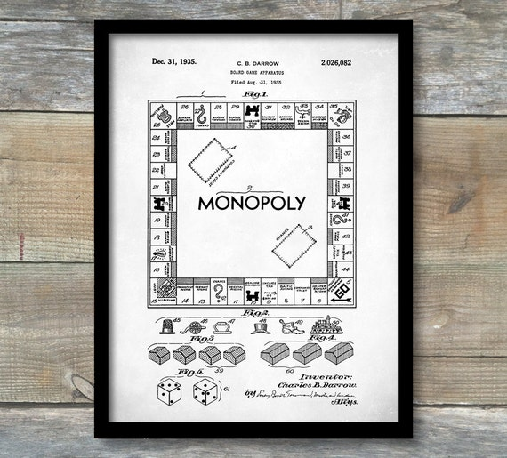 Patent poster monopoly game patent wall art poster malvernweather Choice Image