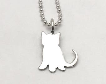 Kitten Pendant made from Vintage Silver US Dime Coin